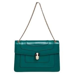 Bvlgari Green Leather Medium Serpenti Forever Shoulder Bag