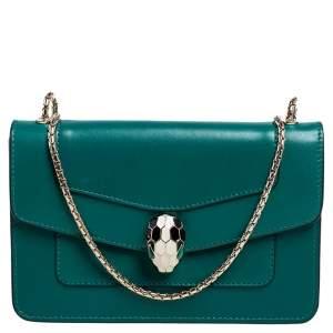 Bvlgari Green Leather Mini Serpenti Forever Crossbody Bag