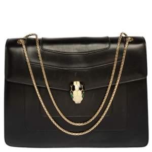 Bvlgari Black Leather Large Serpenti Forever Flap Shoulder Bag