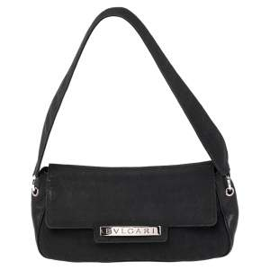 Bvlgari Black Logo Mania Canvas and Leather Flap Shoulder Bag