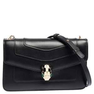 Bvlgari Black Leather Serpenti Forever Chain Shoulder Bag