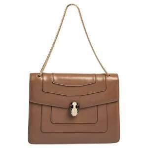 Bvlgari Brown Leather Large Serpenti Forever Shoulder Bag