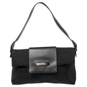 Bvlgari Black Signature Canvas and Leather Flap Shoulder Bag