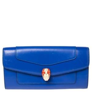 Bvlgari Blue Leather Serpenti Forever Continental Wallet