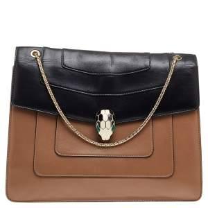 Bvlgari Black/Beige Leather Large Serpenti Forever Flap Shoulder Bag