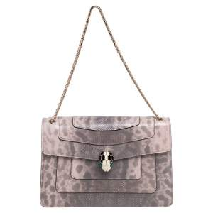 Bvlgari Beige/Brown Karung Medium Serpenti Forever Shoulder Bag
