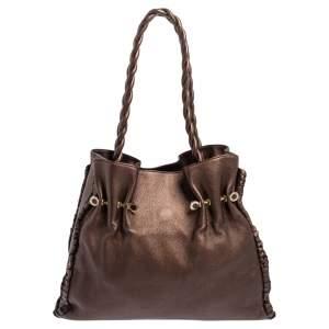 Bvlgari Metallic Brown Leather Twistino Tina Shopper Tote