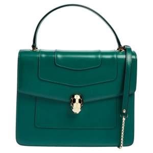 Bvlgari Green Leather Serpenti Forever Top Handle Bag