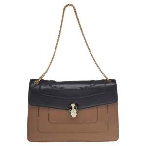 Bvlgari Beige/Black Leather Medium Serpenti Forever Flap Shoulder Bag