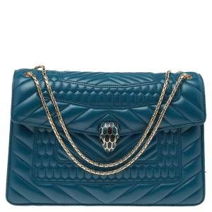 Bvlgari Teal Blue Quilted Leather Serpenti Forever Shoulder Bag