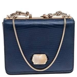 حقيبة كتف بلغاري جلد سحلية أزرق مشبك كابوشون