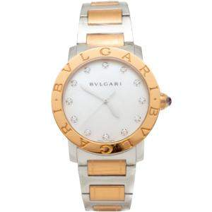 Bvlgari Bvlgari Steel & 18K Rose Gold Diamond Dial Watch 37MM