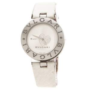 Bvlgari Silver Stainless Steel Heart Diamond B.Zero1 Women's Wristwatch 35 MM