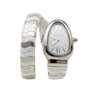 Bvlgari White Serpenti Spiga Stainless Steel & Ceramic Women's Watch Small Size
