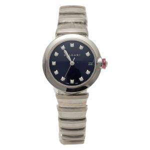 Bvlgari Dark Blue Diamond Dial LVCEA Stainless steel Automatic Women's Wristwatch 33MM