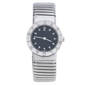 Bvlgari Black Stainless Steel Diamond Tubogas BB262TS Women's Wristwatch 26 mm