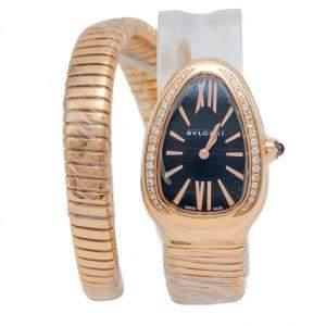 Bvlgari Serpent Tubogas Rose Gold Black Dial Diamond Bezel Wristwatch Small Size