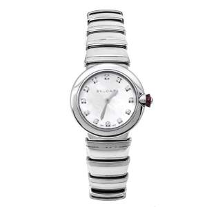 ساعة يد نسائية بلغاري أل في سي إيي أيه أل يو28أس ستانلس ستيل لؤلؤ بيضاء 28 مم