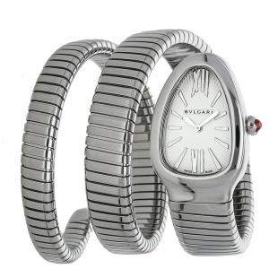 Bvlgari Silver Stainless Steel Serpenti Tubogas 101911 Women's Wristwatch 35 MM