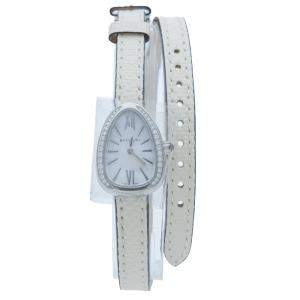 Bvlgari Serpenti White Mother Of Pearl Steel & Diamond Watch 27 MM