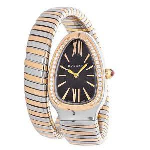 Bvlgari Black Diamonds 18K Rose Gold And Stainless Steel Serpenti Tubogas 102098 Women's Wristwatch 35 MM