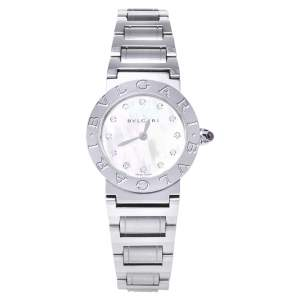 Bvlgari Mother Of Pearl Stainless Steel Diamond Bvlgari BBL26S Women's Wristwatch 26 mm