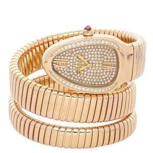 Bvlgari Champagne Diamonds 18K Rose Gold Serpenti Tubogas 101956 Women's Wristwatch 35 MM
