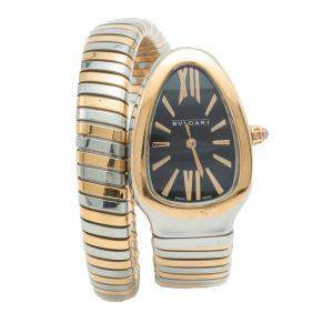 Bvlgari Serpenti Black Dial Steel & Rose Gold Women's Watch 35 MM