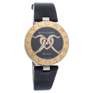 Bvlgari Black 18K Gold Leather Diamonds B.Zero1 BZ P 35 S Quartz Women's Wristwatch 35 MM