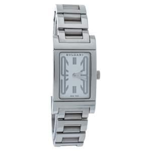 Bvlgari White Stainless Steel Rettangalo RT 39 S Women's Wristwatch 21MM