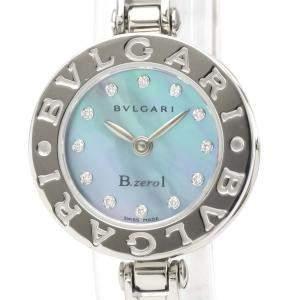 ساعة يد نسائية بلغاري بي زيرو 1 كوارتز Bz22S  ستانلس ستيل ألماس صدف زرقاء 22 مم