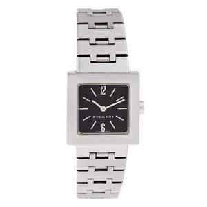 ساعة يد نسائية بلغاري كوادراتو SQ22SS ستانلس ستيل سوداء 22مم
