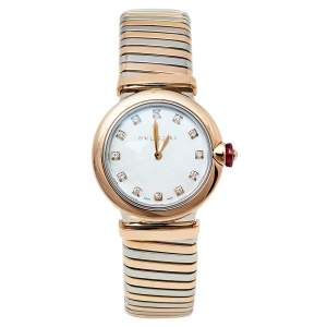Bvlgari Mother Of Pearl 18K Rose Gold & Stainless Steel Diamonds Lvcea 102952 Women's Wristwatch 28 mm