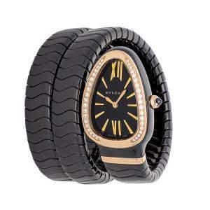 Bvlgari Black Diamonds 18k Rose Gold And Ceramic Serpenti Spiga 102885 Women's Wristwatch 35 MM