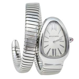 Bvlgari Silver Stainless Steel Serpenti Tubogas SP 35 S Women's Wristwatch 35 mm