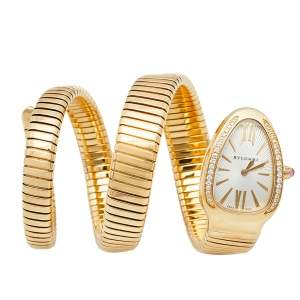 Bvlgari Silver Opaline Guilloché Soleil 18K Yellow Gold Diamonds Serpenti Tubogas SP 35 G Women's Wristwatch 35 MM