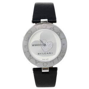 Bvlgari Silver Stainless Steel Diamond Heart Motif B.Zero1 BZ 35 S Women's Wristwatch 35 mm