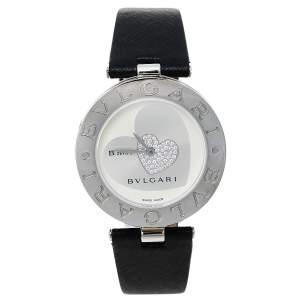 ساعة يد نسائية بلغاري قلب أيقونة بي.زيرو1 ألماس ستانلس ستيل فضة 35 مم