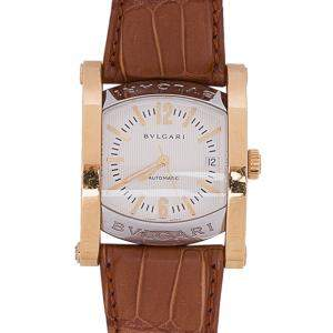 Bvlgari Cream 18K Yellow Gold and Leather Assioma Women's Wristwatch 30 MM
