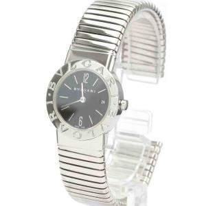 Bvlgari Black Stainless Steel Tubogas BB26 2TS Quartz Women's Wristwatch 26 MM