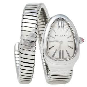 Bvlgari Silver Guilloché Soleil Stainless Steel Serpenti Tubogas SP 35 S Women's Wristwatch 35 mm