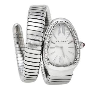 Bvlgari Silver Guilloché Soleil Stainless Steel Diamond Serpenti Tubogas SP 35 S Women's Wristwatch 35 mm