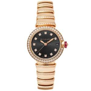 Bvlgari Black 18k Rose Gold Diamond Lvcea 102191 Women's Wristwatch 33 mm