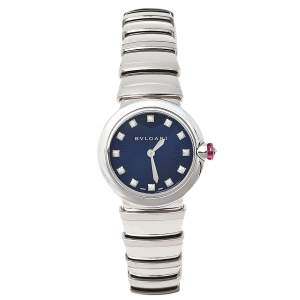Bvlgari Blue Stainless Steel Diamond Lvcea LU 28 S Women's Wristwatch 28 mm