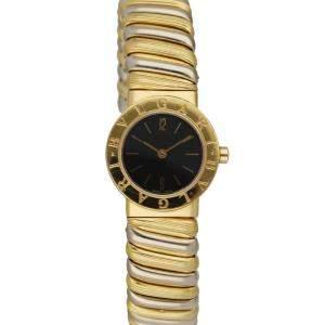 Bvlgari Black 18K Yellow Gold And White Gold Tubogas BB 23.2T Women's Wristwatch 23 MM