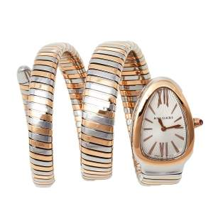 Bvlgari Silver 18K Rose Gold and Stainless Steel Serpenti Tubogas 102236 Women's Wristwatch 35 mm