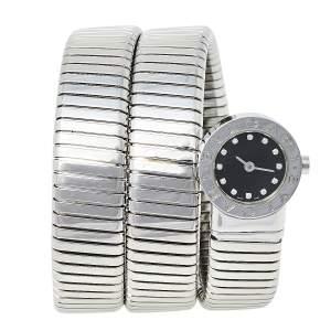 Bvlgari Black Stainless Steel Diamonds Tubogas BB 19 1TS Women's Wristwatch 19 mm