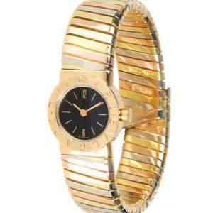 Bvlgari Black 18K White And Yellow Gold Tubogas BB 19 2T Women's Wristwatch 19 MM