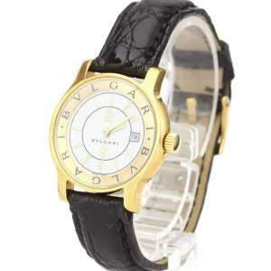 Bvlgari White 18K Yellow Gold Solotempo ST29G Quartz Women's Wristwatch 29 MM