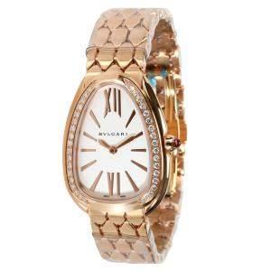 Bvlgari Silver Diamonds 18K Rose Gold Serpenti 103146 Women's Wristwatch 25 x 33 MM